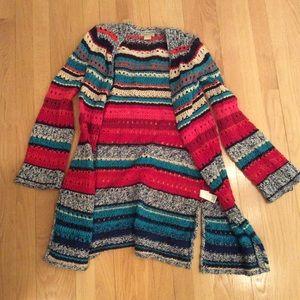 Striped open cardigan sweater